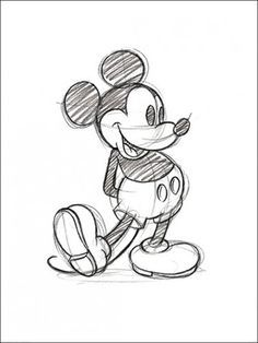 Buy Disney Mickey Mouse Sketch - Framed online and save! Walt Disney's legendary Mickey Mouse sketch illustrated in pencil will make the perfect print for any Disney fan's wall. View our full range to comple. Mickey Mouse Sketch, Mickey Mouse Drawings, Mickey Drawing, Mickey Mouse Art, Minnie Mouse Drawing, Drawing Disney, Mickey Mouse Tattoos, Original Disney Sketches, Disney Cartoon Drawings