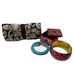 Handmade Gift Lot Decorative Accessories Jewelry Roll Box Mirror Bangle For Womens Wedding Traditional Items Set of 4 Pcs Christmas Gift -- This is an Amazon Affiliate link. You can find more details by visiting the image link.