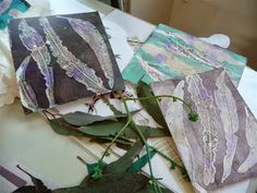 Sandra Pearce - Visual Artist. Some of the prints, beautiful gum leaves with lots of damage from caterpillars -- My few days in the forests near Canberra gave me the time to collect leaves, play with my gelliplate, think, think and think...