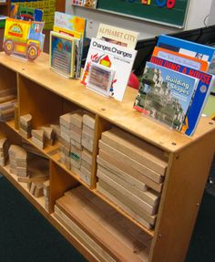 Books in the block area, provides ideas and options to create structures. A MUST!