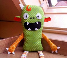 Even cuter than mine!  Monster Doll pdf sewing pattern Halloween softie by DIYFluffies. $9.00, via Etsy.