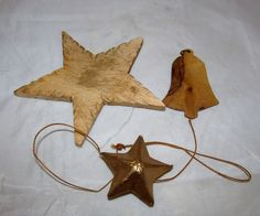 Country Primitive Wood Star Bell Americana 4th of July Patrotic Ornament Set Lot