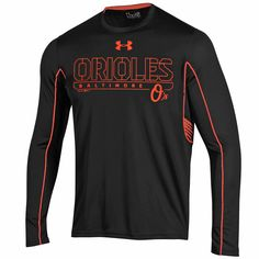 MLB Baltimore Orioles Under Armour Loose Fit Performance Long Sleeve T-Shirt - Black