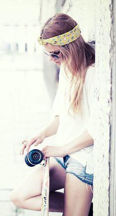longboard skate and girl