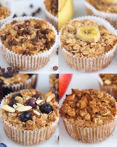 Keep these baked oatmeal cups in your fridge or freezer for an easy, healthy breakfast! There's four different flavor options so you'll never get bored Vegan + glutenfree is part of Baked oatmeal cups - Healthy Sweets, Healthy Breakfast Recipes, Healthy Baking, Healthy Snacks, Breakfast To Go, Healthy Breakfasts, Healthy Breakfast On The Go, Clean Eating Breakfast, Healthy Things To Eat