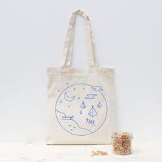 Tote tas / canvas tas blauw zeefdruk door hand / niet-giftige inkt / camping - stam