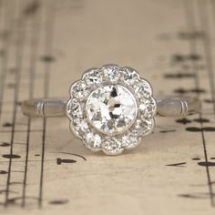 Art Deco Old Cut Diamond Halo Cluster Engagement Ring