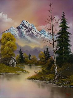 bob ross evenings glow painting - bob ross evenings glow paintings for sale. Shop for bob ross evenings glow paintings & bob ross evenings glow painting artwork at discount inc oil paintings, posters, canvas prints, more art on Sale oil painting gallery. Mountain Paintings, Nature Paintings, Beautiful Paintings, Beautiful Landscapes, Indian Paintings, Pinturas Bob Ross, Watercolor Landscape, Landscape Art, Landscape Paintings