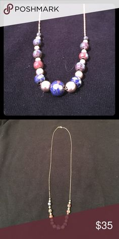 """Gold Chain with Embellished Beads 16"""" 14K gold chain with gold and enamel beads. Jewelry Necklaces"""