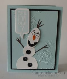 Olaf Frozen Birthday Card for our Granddaughter's 5th Birthday.  www.stampstodiefor.com #frozenolaf