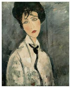 Amedeo Modigliani: Portrait d'une Femme à la Cravate Noire, 1917.