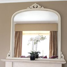 """First choice for space over a fireplace - a large mirror to bounce light and enlarge the room. Last choice - the """"black hole"""", other wise known as the wall mount flat screen TV. Mirror Over Fireplace, White Fireplace, Fireplace Screens, Fireplace Mantle, 1930s Fireplace, Design Websites, Living Room Mirrors, Home Living Room, Home Design"""