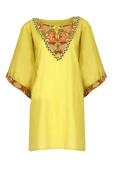 Mustard embroidered tunic by PIA PAURO.