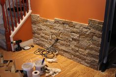 Idea for Stone Accent Wall. (Made with a product called Airstone. Not too cheap, and it's permanent so would have to be done on plywood. Diy Pared, Stone Accent Walls, Stone Walls, Home Decoracion, Diy Décoration, Home And Deco, Home Reno, Basement Remodeling, Basement Plans