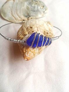 £12.99Unique blue sea glass bangle bracelet