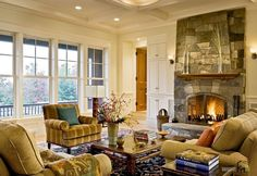 Living Room Wonderful Stone Fireplace Design In An Elegant Living Room Interior With Cozy Armchairs And Wooden Table How to Make Masculine Interior for Male Living Room on a Budget
