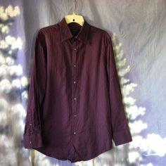 Men's Material London purple long sleeve button down shirt size Medium #MaterialLondon