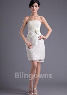 Zipper Sleeveless Tulle Sheath Embroidery Strapless Short Length White Wedding Dresses