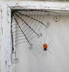 Barbed Wire Corner Spider Web With Orange Spider Orange Things orange spider Wire Spider, Spider Spider, Halloween Crafts, Halloween Decorations, Barbed Wire Art, Orange Spider, Beaded Spiders, Wire Crafts, Art Plastique