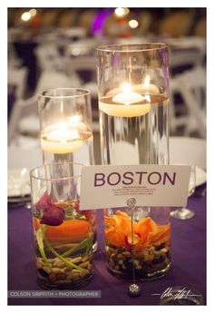 Beautiful table top decorations with candles and flowers
