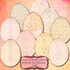 EASTER EGG clip art Damask pattern eggs scrapbook embelishment clip art, great for scrapbooking, tags and labels