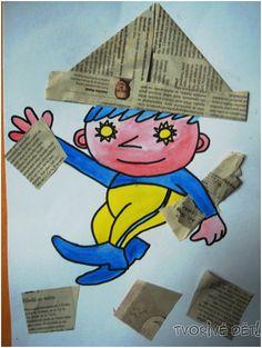 Tvoření s Večerníčkem ! :-) Aneb jak vylepšit omalovánku... Potřebujeme : noviny, barvičky na vymalování, lepidlo, nůžky. Postup: Tužkou dětem předkreslete večerníčka (nebo stáhněte z internetu omalovánku) a nechte jej děti vybarvit. Složte z novin čepičku a nalepte na ... Diy For Kids, Bart Simpson, Smurfs, Fairy Tales, Diy And Crafts, Education, Children, Creative, Fictional Characters
