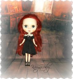Blythe Wednesday Addams Aged Silk Dress   Vintage by KarynRuby