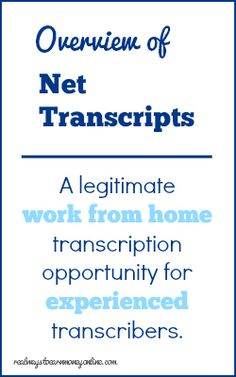 Review of the work from home transcription opportunity at Net Transcripts. http://freelancing-stories.com/