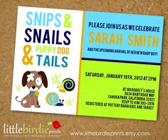 BABY SHOWER INVITATION for Boy Snips Snails and Puppy Dog Tails  Dog. $15.00, via Etsy.