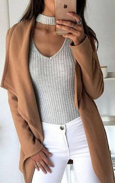 White pants + beige coat | winter fashion