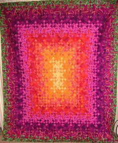 Blooming Nine-Patch, c Orange, Pink, Purple, Green. Made by JB. Lap Quilts, Scrappy Quilts, Quilt Blocks, Quilting Tutorials, Quilting Projects, Quilting Ideas, Postage Stamp Quilt, Nine Patch Quilt