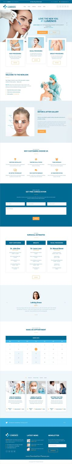 Lumenos is clean and modern design responsive #WordPress theme for #plastic #surgery #clinics #website to live preview & download click on image or Visit 👆