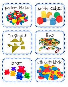 math manipulatives labels - kindergarten/maybe Kindergarten Fun, Preschool Math, Teaching Math, Math Activities, Preschool Center Labels, Teaching Ideas, Preschool Layout, Teacher Resources, Math Manipulative Labels