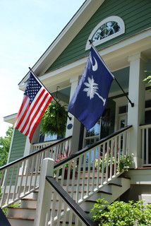 Cheering On The Nation WithThe American Flag Alongside The State Flag Of South Carolina. Sunrooms And Decks, Exterior Tradicional, Palmetto State, Palmetto Moon, Southern Charm, Southern Comfort, Simply Southern, Southern Belle, Southern Prep