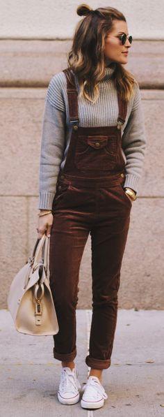 brown corduroy skinny overall