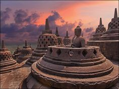 Candi (read: chan-dee) Borobudur (read: Bo-row-boo-doer), Magelang, Central Java, Indonesia. it is renowned as One of the 7 Wonders of The World. Candi Borobudur is one of the historical remainings from when Buddha started in Indonesia.  This monument is a model of the universe and was build as a holy place for Buddha as well a place to meditate and escape from worldly pleasures.
