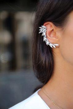 jewels jewelry earrings ear cuff musthave ear piercings silver clear diamonds wings