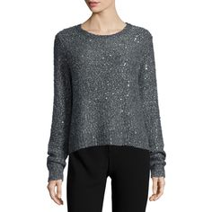DKNY Embellished Long-Sleeve Pullover (1.735 HRK) ❤ liked on Polyvore featuring tops, sweaters, grey, embellished sweater, dkny sweaters, sequin pullover sweater, pullover sweater and long sleeve sweaters