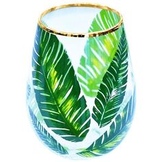 Palm print stemless wine glass (€12) ❤ liked on Polyvore featuring home, kitchen & dining, drinkware, stemless wineglasses, glass wine glasses, stemless wine glasses, gold rim wine glass and painted stemless wine glasses