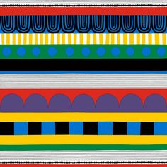 Marimekko Ryijy Stoff Rapport 131cm weiss-blau-gelb-rot
