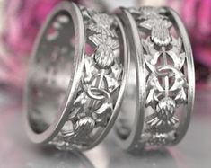Thistle Ring Band 925 Sterling Silver Scottish by CelticEternity