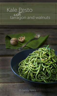 Kale pesto with tarragon - loved this, perfect weeknight meal. This recipe made just the right amount of pesto for 1 lb pasta. Instead of walnuts, I used pecans and pistachios I had on hand, and extra tarragon :)
