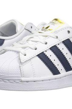 adidas Originals Kids Superstar (Little Kid) (White/Navy/Gold) Kids