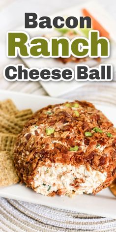 This bacon ranch cheeseball is tasty, more-ish, and a great appetizer to serve at parties, potlucks, and anytime you want to break out a cracker. Southern Appetizers, Tailgate Appetizers, Tailgating Recipes, Appetizer Dips, Southern Recipes, Appetizers For Party, Bacon Ranch Cheese Ball Recipe, Cheese Ball Recipes, Bacon Ranch Cheeseball
