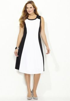CATHERINES HOURGLASS COLORBLOCK DRESS - BLACK & WHITE - PLUS SIZE 18W #Catherines