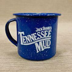 Jack Daniels Whiskey Tennessee Mud Blue White Spatter Enamel Metal Cup Mini Mug
