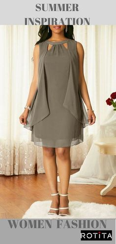Keyhole Neckline Sleeveless Grey Chiffon Dress Four-color selection with this hot sale dress styles added . Trendy Dresses, Tight Dresses, Women's Fashion Dresses, Casual Dresses, Dresses Dresses, Blue Dresses, Dress Outfits, Summer Dresses, Grey Chiffon Dress