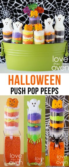 Halloween Push Pop Peeps.  So easy and you can even use store bought brownies or cupcakes in them.