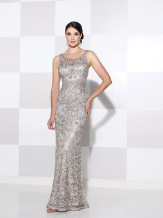 Cameron Blake - Sleeveless ribbon on tulle slim A-line gown with illusion curved bateau neckline and illusion back, hand-beaded high waistline, slightly flared skirt, Matching shawl included.