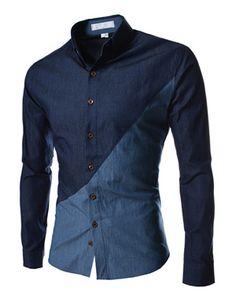 Two tone blue button down slim fit @ Theleesshop:::: All mens slim & luxury items Cool Shirts, Casual Shirts, Blue Shirts, Moda Nike, Moda Men, Mens Fashion, Fashion Outfits, Fashion Check, Gentleman Style